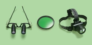 Surgical loupes, a camera filter and headlamp. Craig Cutler for the New York Times