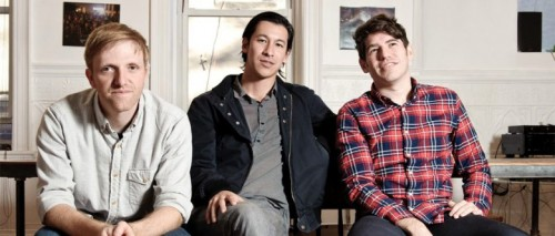 Above: Left to right: Kickstarter cofounder Charles Adler, creator Perry Chen, and cofounder Yancey Strickler. Image Credit: Kickstarter