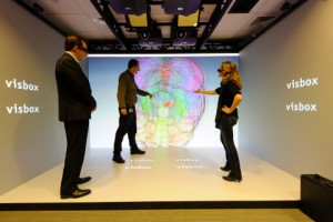 610 Main Street in Cambridge, Mass., features Pfizer's VisCube, a research environment that enables knowledge discovery through immersion in detailed information and exploration of 3D data. The 3D depiction of the human brain in the image is helping Pfizer's Neuroscience Research Unit, led by Michael Ehlers, M.D., Ph.D., advance a deeper understanding of brain circuitry. (Photo: Business Wire)